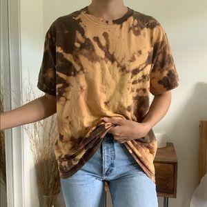 Bleached Tie Dye Brown Hanes T-Shirt